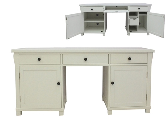 Picture Of Hampton Twin Pedestal Hidden Computer Desk