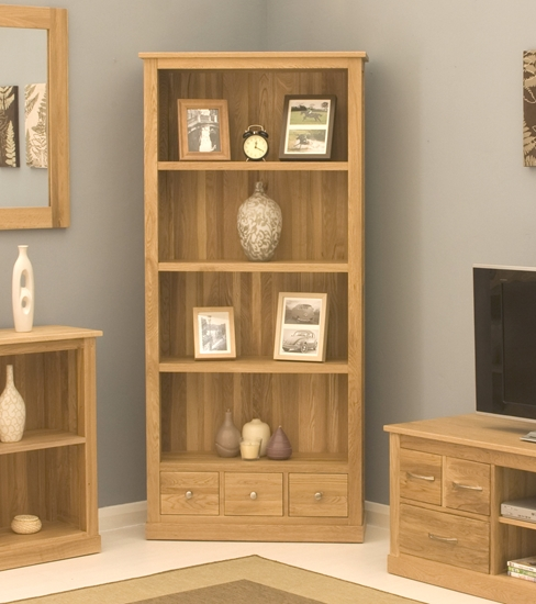 picture of mobel oak large 3 drawer bookcase