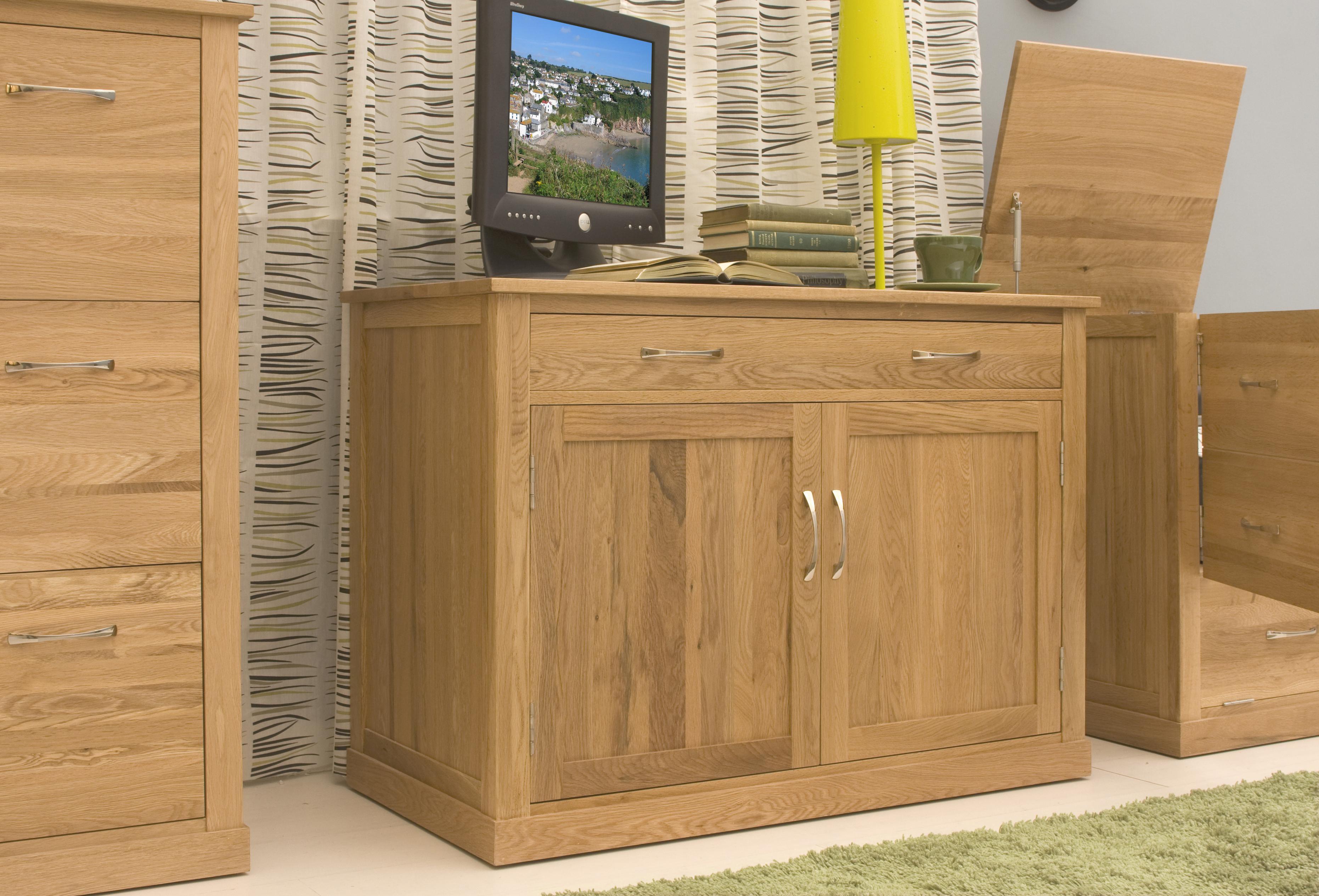 picture of mobel oak hidden home office