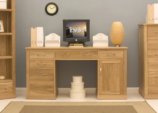 picture of mobel oak twin pedestal computer desk