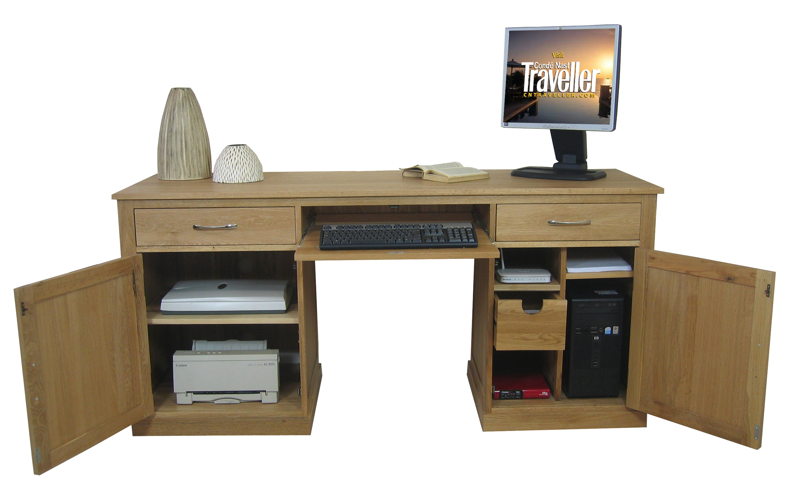 mobel oak large hidden office twin pedestal desk