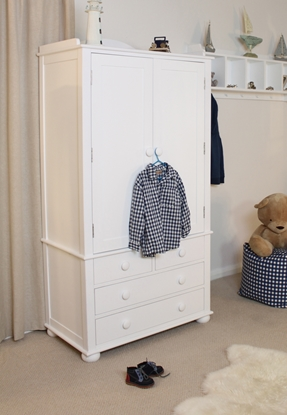 Picture of Nutkin Childrens Double Wardrobe With Drawers