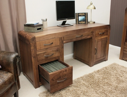 Picture of Shiro Walnut Twin Pedestal Computer Desk