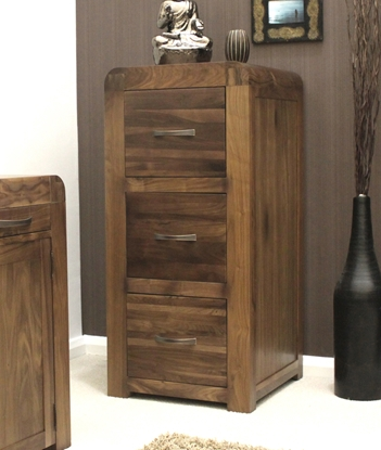 Picture of Shiro Walnut 3 Drawer Filing Cabinet