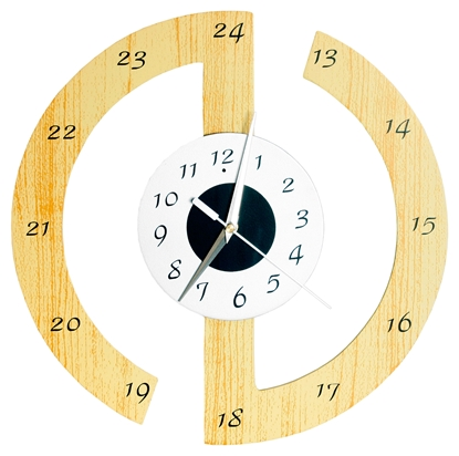 Picture of Round Wooden White Face Clock