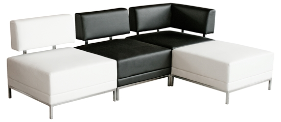 Sofauk Four Piece Sofa Set Black Cream